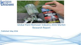 Global Paint Remover Industry: Market research, Company Assessment and Industry Analysis 2016