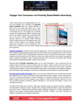 Proximity Based Mobile Advertising