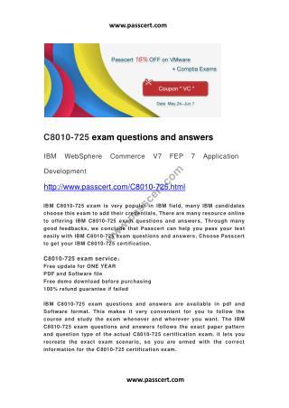 IBM C8010-725 exam questions