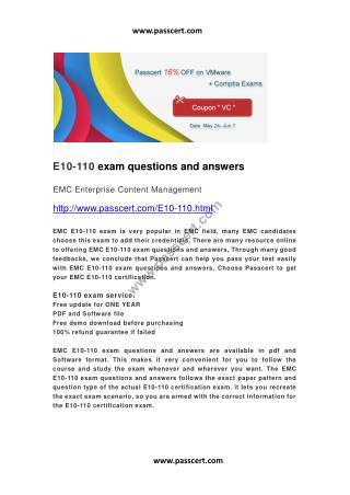 EMC E10-110 exam questions