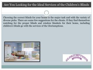 Are You Looking for the Ideal Services of the Children's Blinds