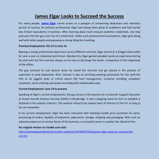 James Elgar Looks to Succeed the Success