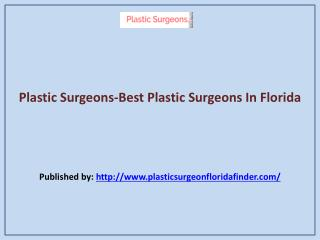 Best Plastic Surgeons In Florida