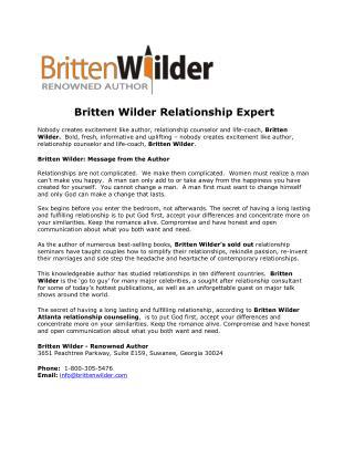 Britten Wilder Author Atlanta Georgia   Britten Wilder Author
