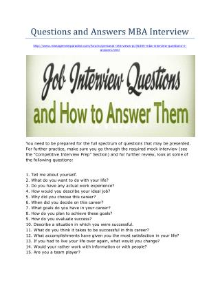 Questions and Answers MBA Interview