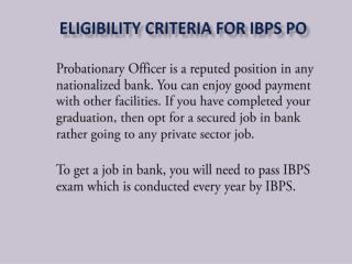 Eligibility Criteria for IBPS PO