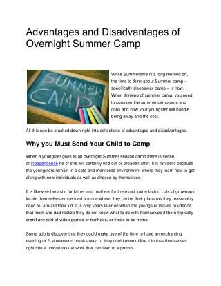 Advantages and Disadvantages of Overnight Summer Camp