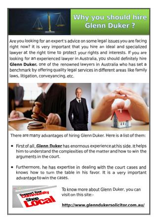 Why you should hire Glenn Duker