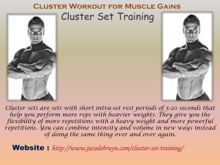 Cluster Set Training - jaco de bruyn workout for Muscle Gains