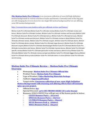 Motion Suite Pro Ultimate review and MEGA $38,000 Bonus - 80% Discount