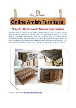 All You Need to Know About Reclaimed Wood Furniture