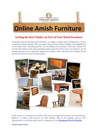 Getting the Best Timber As Part of Your Wood Furniture