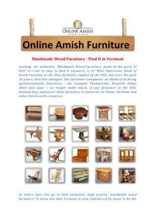 Handmade Wood Furniture - Find It in Vermont