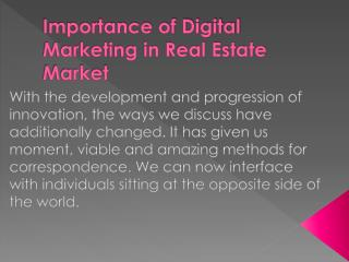 Importance of Digital Marketing in Real Estate Market
