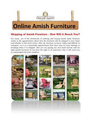 Shipping of Amish Furniture - How Will it Reach You?