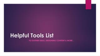 Helpful tools list for Data Storytelling
