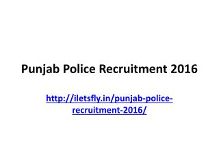 Punjab punjab recruitment 2016 Notice