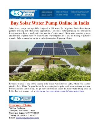 Buy Solar Water Pump Online in India