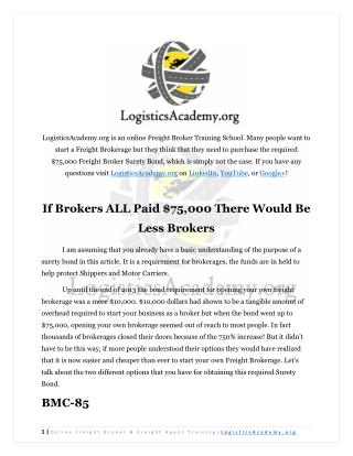 Get your $75,000 Freight Broker Bond without $75,000