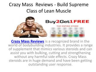 Crazy Mass Reviews  -  Increase Muscle To Reduce Extra Fat