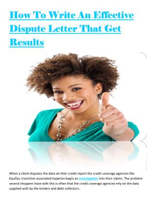 How To Write An Effective Dispute Letter That Get Results