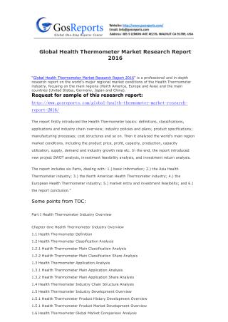 Global Health Thermometer Market Research Report 2016