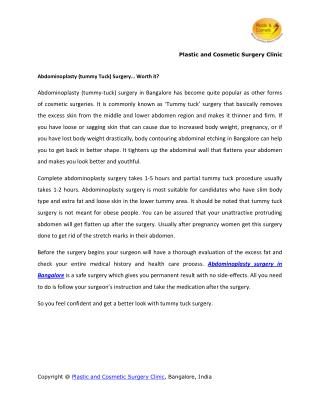 Abdominoplasty tummy Tuck Surgery� Worth it?