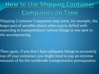 How to Use Shipping Container Companies on Time