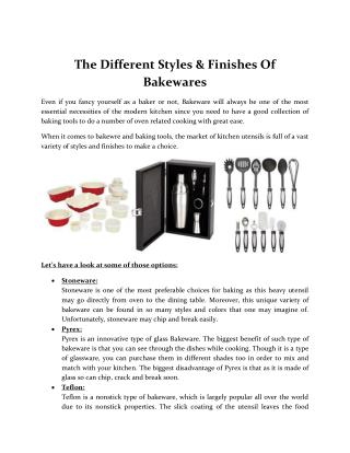 The Different Styles & Finishes Of Bakewares