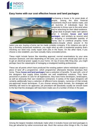 Easy home with our cost effective house and land packages