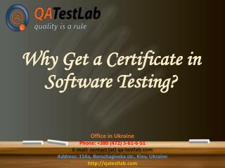 Why get a certificate in software testing?