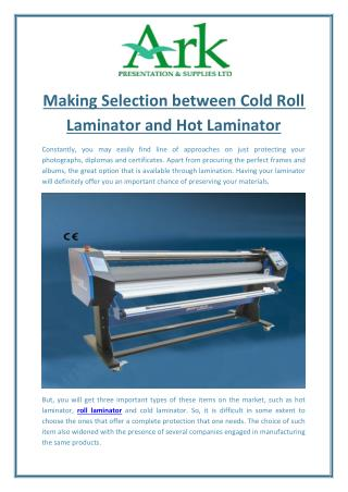 Making Selection between Cold Roll Laminator and Hot Laminator