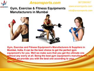 Gym, Exercise & Fitness Equipments Manufacturers in Mumbai