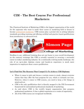 CIM – The Best Course For Professional Marketers