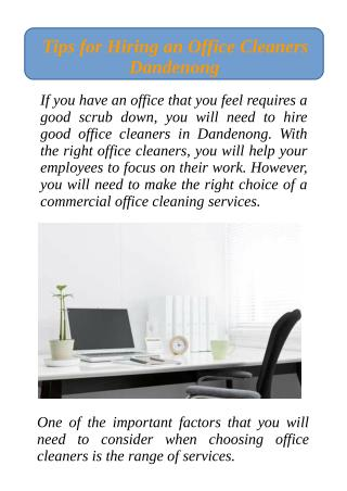 Tips for Hiring an Office Cleaners Dandenong