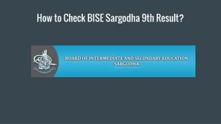 How to Check BISE Sargodha 9th Result?