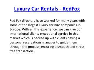 Luxury Car Rentals - RedFox