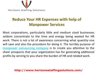 Reduce Your HR Expenses with help of Manpower Services