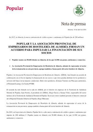 Popular y Ron firman un acuerdo con la asociación de empresarios hosteleros de Almería