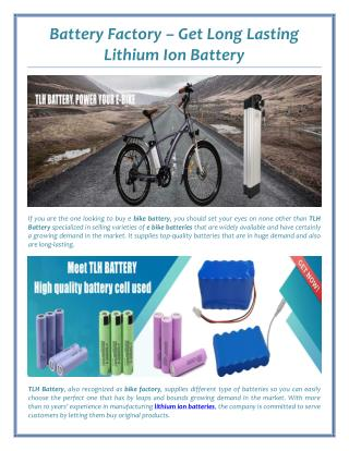 Battery Factory � Get Long Lasting Lithium Ion Battery