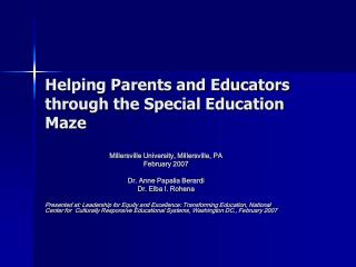 Helping Parents and Educators through the Special Education Maze