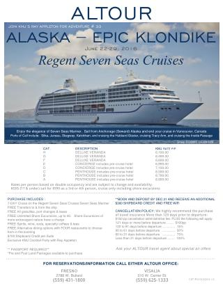 Altour - Alska -Epic Klondike cruise Tour