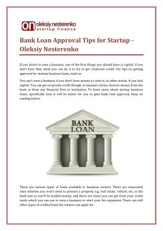 Bank Loan Approval Tips for Startup - Oleksiy Nesterenko
