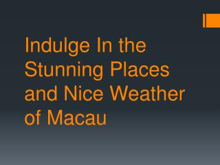 Indulge In the Stunning Places and Nice Weather of Macau