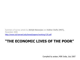 The Economic Lives of the Poor