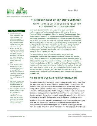 Hidden costs of ERP Customization