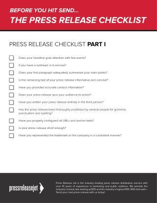Press Release Checklist