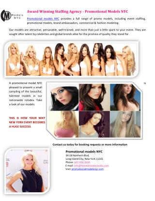 Award Winning Staffing Agency - Promotional Models NYC