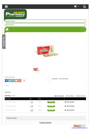 Buy Tadacip 20mg Online | Safe Generic Pharmacy