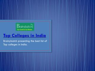 Best List of Top colleges in India